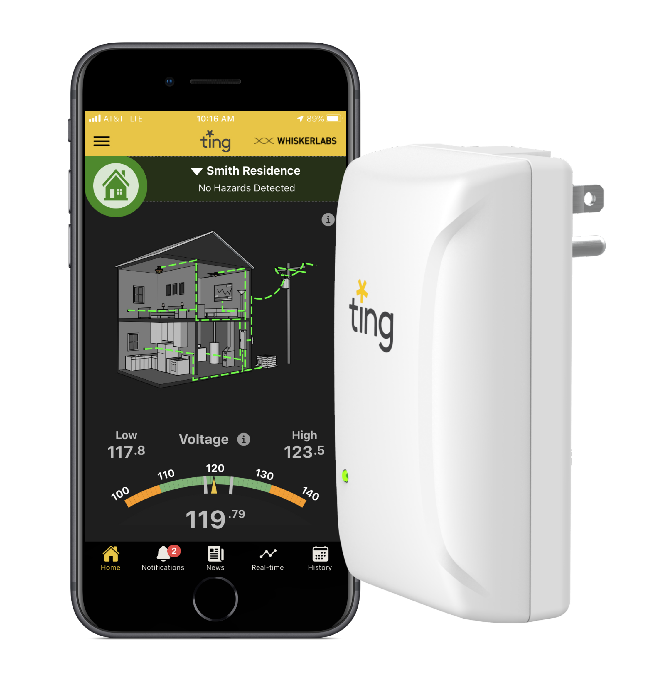 Ting app home page on smartphone, next to Ting sensor